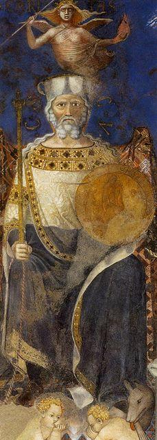 """""""The Effects of Good & Bad Government"""" [detail] Circa 1328-29 -- A series of frescoes/murals -- Ambrogio Lorenzetti -- Palazzo Pubblico, Sala dei Nove o Sala della Pace, Siena."""