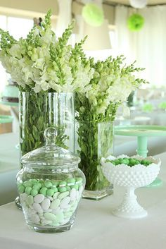 Green love..snapdragons..milk glass..very classic and simple.