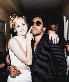 Jennifer Lawrence with Lenny Kravitz