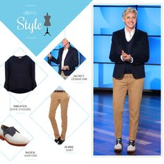 Ellen's Look of the Day: Navy blazer, v neck sweater, button down shirt, khakis and saddle shoes