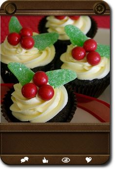 Mistletoe Cupcakes (Sweet Scarlet Easy Holiday Cupcakes) Dark chocolate cupcakes with vanilla buttercream, decorated with jaffas candy and mint leaves. Great for the time-poor host!