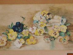 Antique Pansy Painting Victorian Water Color by SimplyCottageChic, $165.00