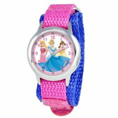 Disney Kids' W000055 Multi-Princess Stainless Steel Time Teacher Watch Disney. $28.79. Stainless steel case, water resistant to 3ATM. Meets or exceeds all US Government requirements and regulations for children's watches. 1 year limited manufacturer's warranty. Time Teacher watch design with labeled Hour & Minute hands, recommended for ages 3-7 yrs old. Accurate quartz movement