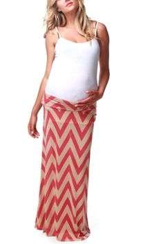 Pink Mocha Chevron Maternity Maxi Skirt