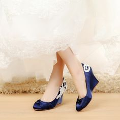 satin Blue Wedding Shoes Wedge Wedding Shoes Comfortable Wedge Shoes Unique Design Wedge Shoes for Wedding Bride Closed Toe Wedges for Women, Medium Heels - Heels:3.5 inch