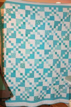 Teal quilt from 16-patch. Not hard to make!