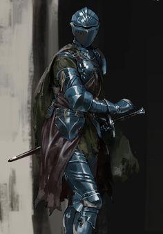 The Cobalt Guard, a group of lawful mercenaries from Northstar. Fantasy Character Design, Character Design Inspiration, Character Art, Medieval Armor, Medieval Fantasy, Fantasy Armor, Dark Fantasy, Arte Dark Souls, Dark Souls Armor