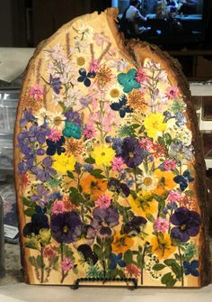 Real Pressed Flowers Colorful Wildflower Garden on Hanging Lightweight Basswood Plaque Signed and Dated by FlowerFelicity