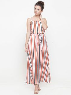 5d0418fe287a3 Shop plusS Women White & Orange Striped Maxi Dress from Shoprapy !