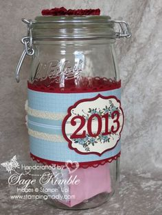 "Apothecary Art Memories Jar for 2013.  Start with an empty jar on January 1st (or as soon as you can get to it), and each time something memorable, wonderful, funny, exciting, or uplifting happens, write a short note about it and put it in the jar.  Next New Years Eve, you open the jar with family and friends, and read all the memories.  It reminds you what a truly wonderful year it was. The Apothecary Art stamp set and ""Memories"" from Loving Thoughts worked perfectly. www.stampingmadly.com"