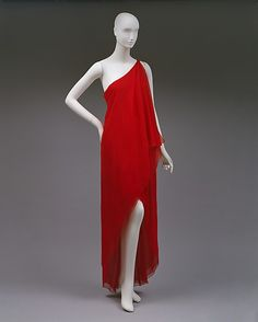 Halston (American, 1932–1990). Dress, Evening, ca. 1978. The Metropolitan Museum of Art, New York. Gift of Alexandra Auchincloss Herzan from the collection of Lily Auchincloss, 1996 (1996.480.3) #reddress