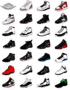 Since that first pair, Air Jordans have blown past the boundaries of sneakers and sportswear. There have been countless designs, a new pair introduced throughout every year of Jordan's career and beyond.Series of 28 illustrations showing the evolution o…