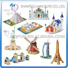 Mini Qute Magic 3d world Architecture Burj Al Arab Hotel windmill eaning Tower card paper Puzzle building models educational toy