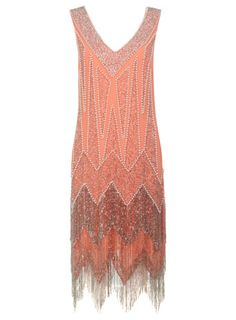 Bonnie Coral Flapper Dress