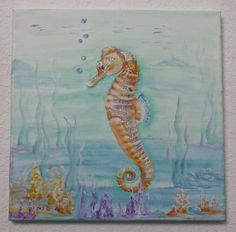 Hand painted Seahorse on 12x12 canvas Made to by DebbyReynolds, $49.00