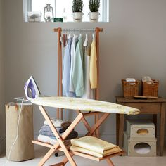 Ironing Board With Space Saving Shelves For Freshly Laundry Room Interior Design - GiesenDesign Utility Room Storage, Laundry Room Organization, Laundry Rooms, Utility Sink, Linen Storage, Organization Ideas, Konmari, Utility Room Designs, Space Saving Shelves