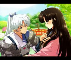 Inu no Taisho (full dog demon; InuYasha and Sesshomaru's father) with Izayoi (InuYasha's human mother). I would have loved to see how their story unfolded Inuyasha Anime, Inuyasha And Sesshomaru, Kagome And Inuyasha, Inuyasha Funny, Inuyasha Fan Art, I Love Anime, Awesome Anime, All Anime, Manga Anime