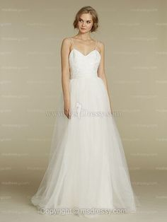 A-line Spaghetti Straps Floor-length Tulle White Weddind Dress