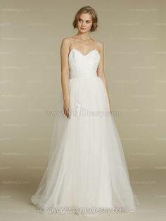 A-line Spaghetti Straps Floor-length Tulle White Weddind Dress