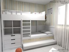 Who has never dreamed of having a beautiful design piece to decorate your home? Boy Bedroom Design, Bed Design, Tiny Bedroom, Condo Interior, Room Design Bedroom, Diy Furniture Bedroom, Bunk Rooms, Bunk Bed Designs, Kid Room Decor