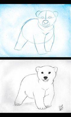 change art lesson on Polar bear cubs - The Art of Climate Change Bear Face Drawing, Polar Bear Drawing, Polar Bear Cartoon, Polar Bear Face, Baby Polar Bears, Cute Polar Bear, Cartoon Drawings, Easy Drawings, Polar Bear Outline