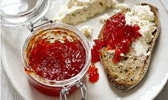 Sweet chilli jam adds a neat heat to any snack as a relish or dip. Photograph: Colin Campbell for the Guardian Chilli Recipes, Jam Recipes, Canning Recipes, Savoury Recipes, Savory Snacks, Yummy Recipes, Vegan Recipes, Chilli Jam, Sweet Chilli