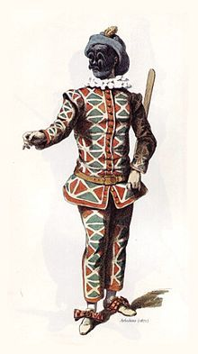 """Harlequin- in his original appearance as a stock character in the 1670's, complete with batte or """"slapstick"""", a magic wand used by the character to change the scenery of the play"""