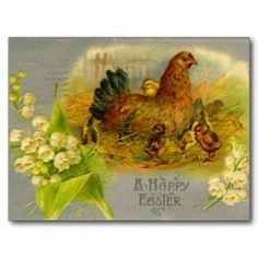 Vintage Easter Chick  Pussy Willows Card  Vintage Easter