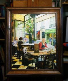 """Lunch in the St Regis Cafe Paris Oil on canvas 16"""" x 20"""""""