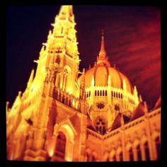 Hungarian Parliament at night.