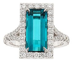 Indicolite Tourmaline, Diamond, White Gold Ring.