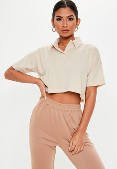 A Fashionista's Stylister Missguided - Sand Boxy Polo Crop Prime This text options data on ten flowe Polo Shirt Outfits, Polo Outfit, Crop Top Outfits, Cute Outfits, Polo Shirts, Collar Shirts, Black Pants Outfit Dressy, Co Ords Outfits, Polo Crop Top