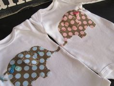Elephant onesies elephant twins Boy girl by PaisleyPrintsSpokane, $36.95