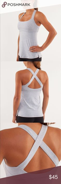 Lululemon Top Speed Tank Heathered Silvered Slate Tech specs designed for: run fabric(s): Power Luxtreme®, COOLMAX® properties: moisture-wicking, chafe-resistant, breathable, preshrunk shelf bra: yes support level: medium coverage: medium fit: fitted length: hip.   Some pilling on lower back from a backpack rubbing while on a hike. lululemon athletica Tops Tank Tops
