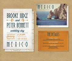 TROPICAL DESTINATION Wedding Invitation // Printable Invitation and RSVP card // Cabo San Lucas Wedding on Etsy, $20.00