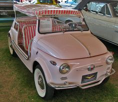 Most adorable car ever -- a Fiat Jolly! Make mine solar- or peddle-powered :) Dream Cars, Vintage Cars, Antique Cars, Vintage Golf, Beach Cars, Cute Cars, Funny Cars, Small Cars, Ford Gt