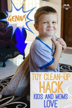 Does cleaning up toys stress you out? This GENIUS toy clean-up hack will save you tons of time and stress. Finally a cleaning hack that kids AND moms love! www.pintsizedtreasures.com