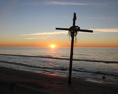 Christian Cross with a Sunset Background on A Serene Beach Landscape, Cross and Sunset Landscape Artwork, Free Shipping, Signed