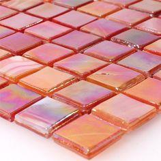 Glasmosaik Fliesen Perlmutt Effekt Rot Mix