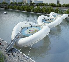 Concept for a trampoline bridge by Paris-based studio AZC. Click for source & visit our Tactical Urbanism board >> http://www.pinterest.com/slowottawa/tactical-urbanism/