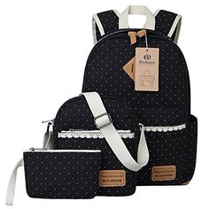 Bluboon Girls Bookbags Canvas Dot Backpack Set For Teens Girls, Schoolbags 3 . Backpack For Teens, Small Backpack, Canvas Backpack, Backpack Purse, Pretty Backpacks, Stylish Backpacks, Girl Backpacks, Fashion Bags, Fashion Backpack