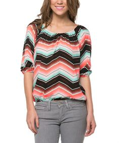 Look what I found on #zulily! Coral & Mint Gradient Chevron Blouson Tee by Magic Fit #zulilyfinds