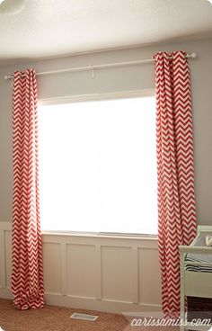 Carissa Miss: DIY lined curtains. Love the print on the curtains. Cute Curtains, Striped Curtains, Lined Curtains, Curtain Fabric, Knock Off Decor, Curtain Tutorial, Ikea, Modern Rustic Decor, Window Coverings