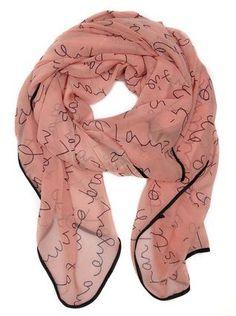 Růžový šátek s ozdobnými nápisy INVUU 1 Alexander Mcqueen Scarf, Fashion, Moda, Fashion Styles, Fashion Illustrations