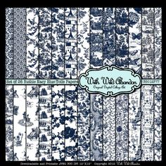 Navy Blue Vintage Toile Digital Scrapbook Paper 26 Sheets- Toile 24 Papers 12x12 Instant Download $4.50