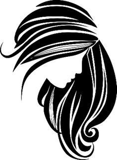 women long hair style icon logo women face on white background rh pinterest com Black and White Snowflake Clip Art Black and White Snowflake
