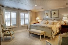 hampton style homes -I like the colour of the walls with the plantation shutters and light drapes Hamptons Style Bedrooms, Hamptons Style Homes, Hamptons House, The Hamptons, Curtains With Plantation Shutters, Interior Shutters, Pretty Bedroom, Master Bedroom Makeover, Up House