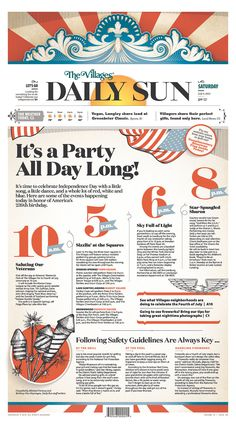 Neat way to do an event timeline centerpiece. | The Villages (Florida) Daily Sun for July 4, 2015, via Today's Front Pages | Newseum #newsdesign #newspapers #graphics