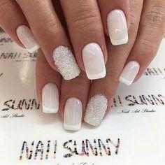 35 trendy short coffin nails designs page 31 Nail Art Vernis, Manicure And Pedicure, Bride Nails, Wedding Nails, Cute Nails, Pretty Nails, Hair And Nails, My Nails, Bridal Nail Art