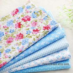 Light Blue Cotton Fabric, Flower Plain Dots Blue Cotton, Quilting Fabric- 1/2 yard